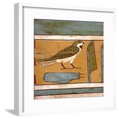 Swallow detail, Egyptian hieroglyphic on inner wall of coffin, c2000 BC-Unknown-Framed Giclee Print