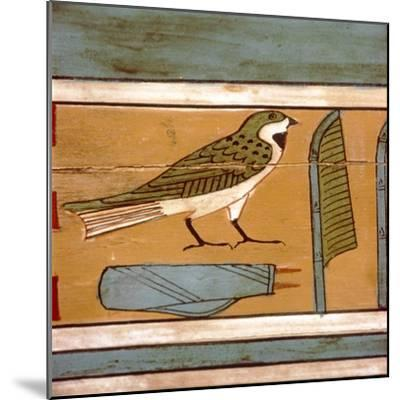 Swallow detail, Egyptian hieroglyphic on inner wall of coffin, c2000 BC-Unknown-Mounted Giclee Print