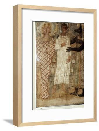 The Deceased and his Mummy protected by Anubis, Egypt, 3rd century-Unknown-Framed Giclee Print