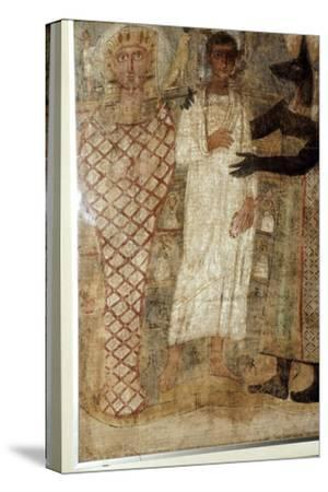 The Deceased and his Mummy protected by Anubis, Egypt, 3rd century-Unknown-Stretched Canvas Print