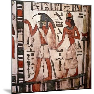 Thoth, Ibis-headed god leads the deceased to the Underworld, Mummy-case of Pensenhor, c900BC-Unknown-Mounted Giclee Print