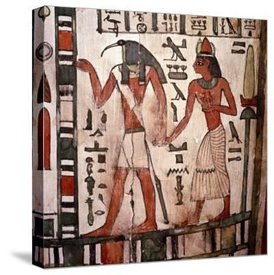 Thoth, Ibis-headed god leads the deceased to the Underworld, Mummy-case of Pensenhor, c900BC-Unknown-Stretched Canvas Print