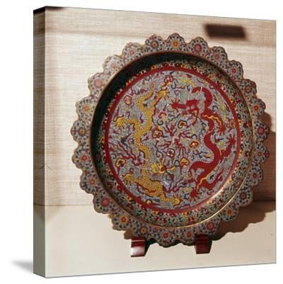 Cloisonne Enamel Dish, Chinese-Unknown-Stretched Canvas Print