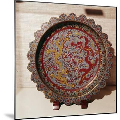 Cloisonne Enamel Dish, Chinese-Unknown-Mounted Giclee Print