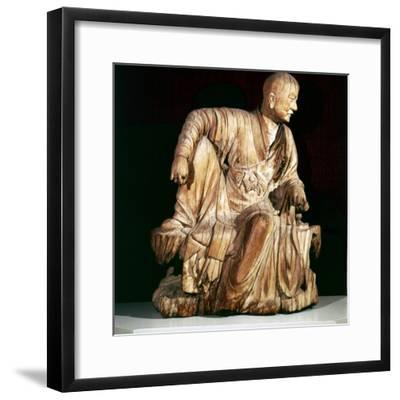 A Lohan (Disciple of Buddha), Chinese woodcarving, 14th century-Unknown-Framed Giclee Print