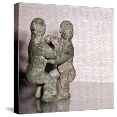 Chinese Bronze Wrestlers, Late Zhou Dynasty, 4th century BC-3rd century BC-Unknown-Stretched Canvas Print