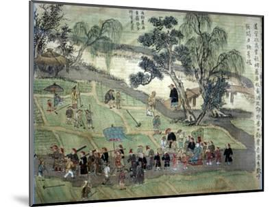 Chao Hsia visiting the fields, encouraging people to plant Mulberry trees-Unknown-Mounted Giclee Print