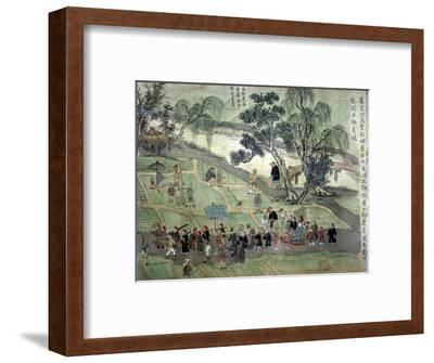 Chao Hsia visiting the fields, encouraging people to plant Mulberry trees-Unknown-Framed Giclee Print