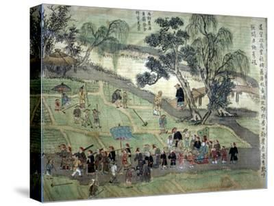 Chao Hsia visiting the fields, encouraging people to plant Mulberry trees-Unknown-Stretched Canvas Print