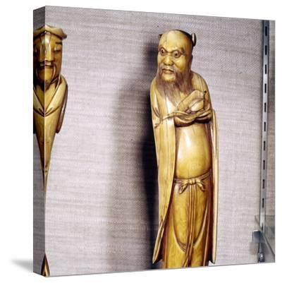 The Taoist Immortal, Chung Li Ch'Uan, Chinese Ivory, Ming Dynasty, 17th century-Unknown-Stretched Canvas Print