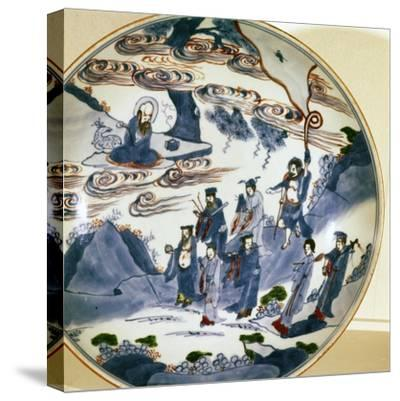 The immortals visit Shou-Lao, god of Longevity, Porcelain dish, 17th century-Unknown-Stretched Canvas Print