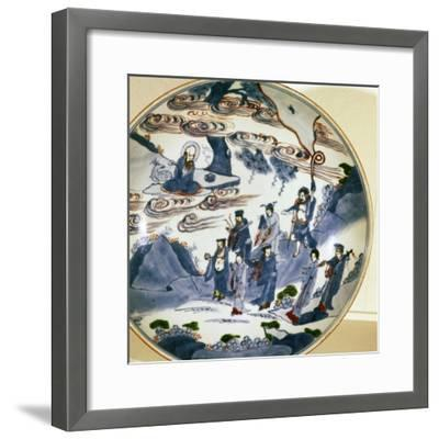 The immortals visit Shou-Lao, god of Longevity, Porcelain dish, 17th century-Unknown-Framed Giclee Print