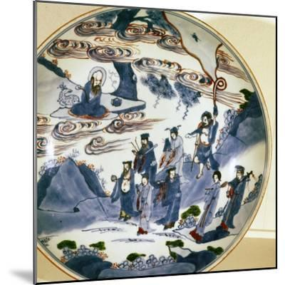 The immortals visit Shou-Lao, god of Longevity, Porcelain dish, 17th century-Unknown-Mounted Giclee Print