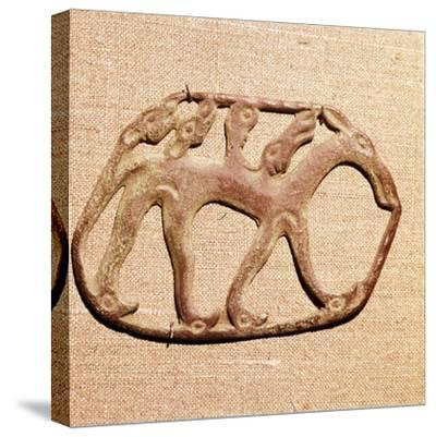 Bronze Plaque, Kama River Tribes Mircaulous Image of Wilde Beast, 3rd century BC-8th century-Unknown-Stretched Canvas Print