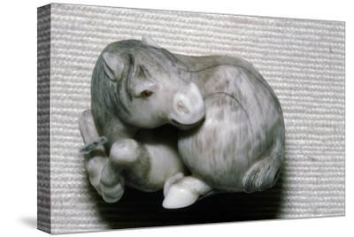 Japanese Netsuke Horse-Unknown-Stretched Canvas Print