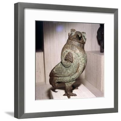 Chinese Bronze Wine-Vessel or Tsun, in form of Short-Eared Owl, 11th century BC-10th century BC-Unknown-Framed Giclee Print