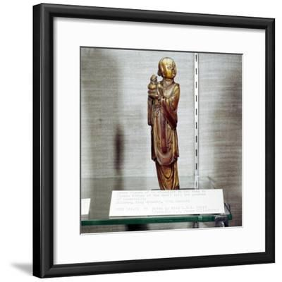 Attendant of Hsi Wang Mu and peaches of Immortal, Ivory Figure, Ming Dynasty-Unknown-Framed Giclee Print