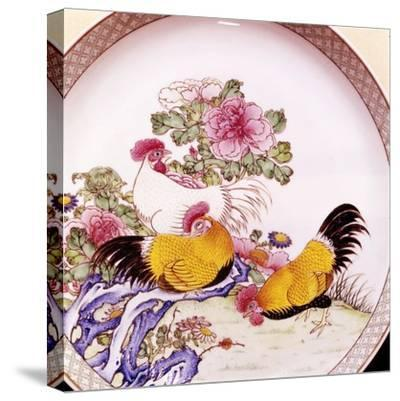 Cockerels, Famille Rose Enamel Porcelain Plate, Ch'Ieh Lung, 1736-1795-Unknown-Stretched Canvas Print