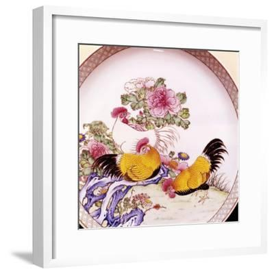 Cockerels, Famille Rose Enamel Porcelain Plate, Ch'Ieh Lung, 1736-1795-Unknown-Framed Giclee Print