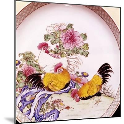 Cockerels, Famille Rose Enamel Porcelain Plate, Ch'Ieh Lung, 1736-1795-Unknown-Mounted Giclee Print
