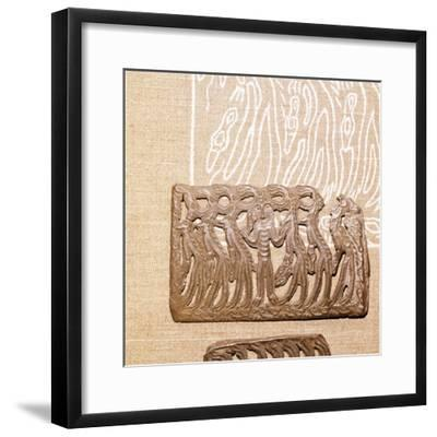 Bronze Plaque, illustrating Shamanism and Magic, Kama River Area, USSR, 3rd century BC-8th century-Unknown-Framed Giclee Print