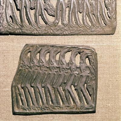 Bronze Plaque from Kama River area, relating to Shamanism, 3rd century BC-8th century-Unknown-Framed Giclee Print