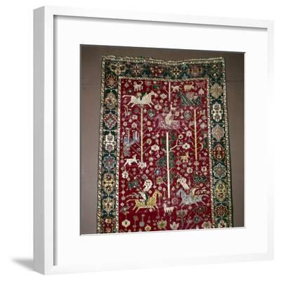 Islamic Carpet illustrating Hunting, the Caucasus, 17th century-Unknown-Framed Giclee Print
