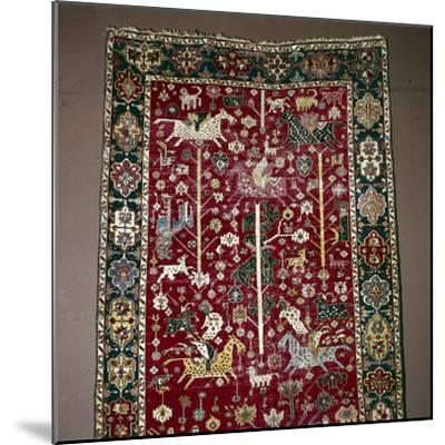 Islamic Carpet illustrating Hunting, the Caucasus, 17th century-Unknown-Mounted Giclee Print