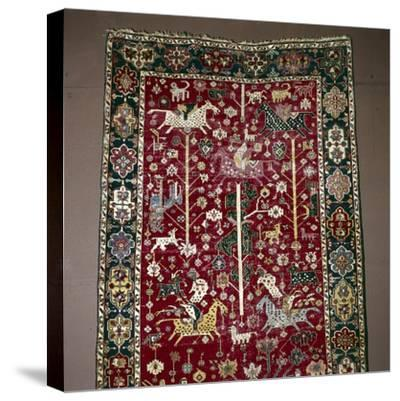 Islamic Carpet illustrating Hunting, the Caucasus, 17th century-Unknown-Stretched Canvas Print