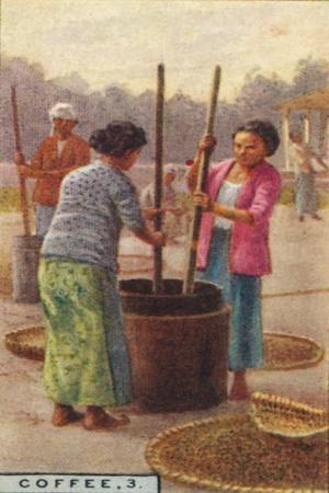 'Coffee, 3. Hulling the Beans, Java', 1928-Unknown-Framed Giclee Print
