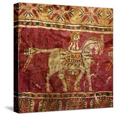 Carpet detail, Man and Horse, from Tomb at Pazyryk, Altai, USSR, 5th century BC-4th century BC-Unknown-Stretched Canvas Print