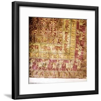 Corner of Pile Carpet from Tomb at Pazyryk, Altai, USSR, 5th century BC-4th century BC-Unknown-Framed Giclee Print