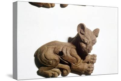 Kitten Carved wooden bridle-plate from Pazyryk, Altai Mountains, 5th century BC-4th century BC-Unknown-Stretched Canvas Print