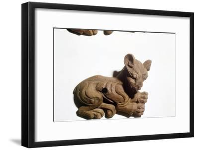 Kitten Carved wooden bridle-plate from Pazyryk, Altai Mountains, 5th century BC-4th century BC-Unknown-Framed Giclee Print