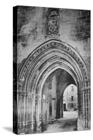 'Avignon - Popes Palace. - Principal Entrance. - And Heraldry of Clément VI', c1925-Unknown-Stretched Canvas Print