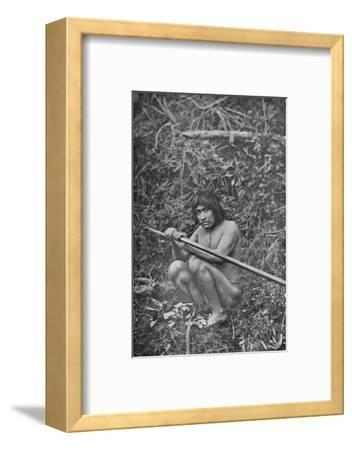 'A Yaghan Attaching The Head of His Harpoon to the Shaft', 1911-Unknown-Framed Photographic Print