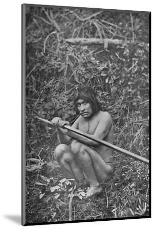 'A Yaghan Attaching The Head of His Harpoon to the Shaft', 1911-Unknown-Mounted Photographic Print