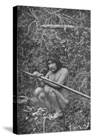 'A Yaghan Attaching The Head of His Harpoon to the Shaft', 1911-Unknown-Stretched Canvas Print