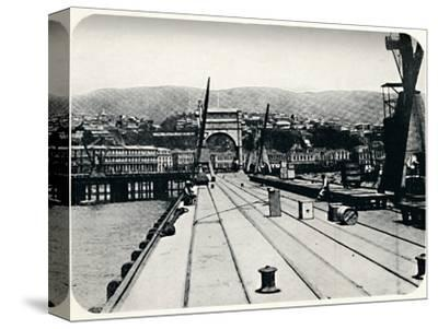 'Customs' Pier, Valparaiso', 1911-Unknown-Stretched Canvas Print