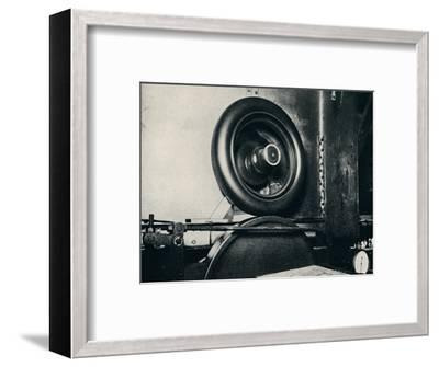 'One of Sir Malcolm Campbell's tyres running at 300 m.p.h.', 1937-Unknown-Framed Photographic Print