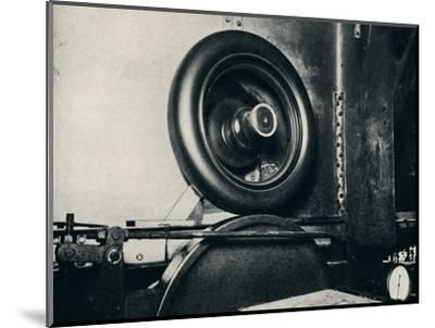 'One of Sir Malcolm Campbell's tyres running at 300 m.p.h.', 1937-Unknown-Mounted Photographic Print