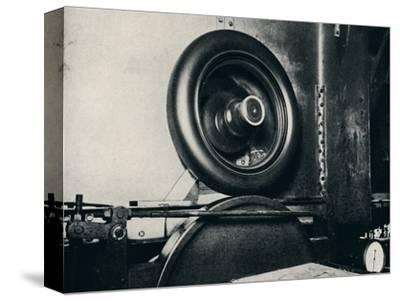 'One of Sir Malcolm Campbell's tyres running at 300 m.p.h.', 1937-Unknown-Stretched Canvas Print