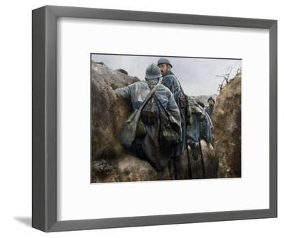 A French trench before an attack, 2nd Battle of Champagne, France, 25 September 1915-Unknown-Framed Photographic Print