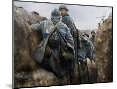 A French trench before an attack, 2nd Battle of Champagne, France, 25 September 1915-Unknown-Mounted Photographic Print