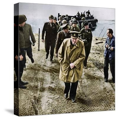 'Winston Churchill across the Rhine. Outwards into Germany! Onwards to Victory!', 1945-Unknown-Stretched Canvas Print