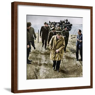'Winston Churchill across the Rhine. Outwards into Germany! Onwards to Victory!', 1945-Unknown-Framed Photographic Print