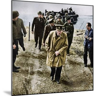 'Winston Churchill across the Rhine. Outwards into Germany! Onwards to Victory!', 1945-Unknown-Mounted Photographic Print