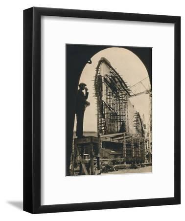 'The Massive Hull, partly placed', 1930-1934, (1936)-Unknown-Framed Photographic Print