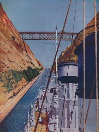 'Completed in 1893, the Corinth Canal', 1937-Unknown-Framed Giclee Print