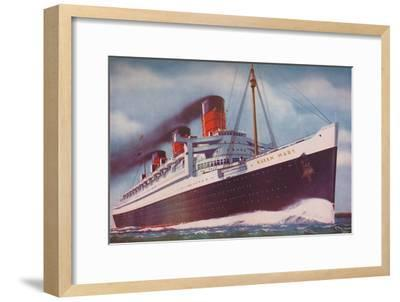 'The Mighty Atlantic Record Breaker, the Queen Mary', 1937-Unknown-Framed Giclee Print